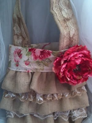 "great burlap purse with lace.....love! This would look better as a dress, my husband has all ways said, ""you would look good in a burlap bag""."