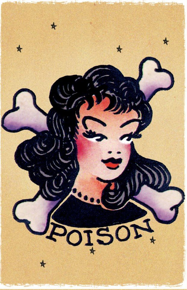 POISON GIRL vintage Sailor Jerry Traditional style tattoo Pin Up poster print
