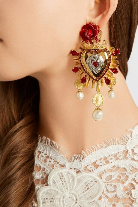 Dolce & Gabbana sacred heart earrings                                                                                                                                                     More