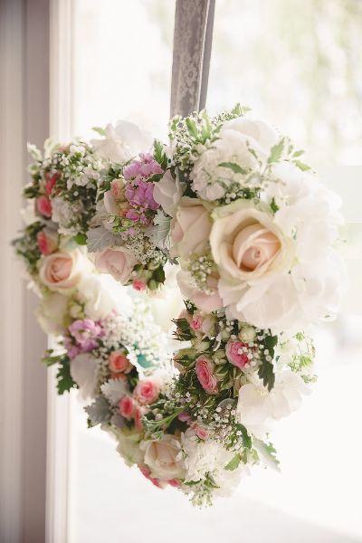 Pastel Flower Heart Wreath | Wedding Flowers | Wedding Inspiration | Wedding Decor | A Rustic Wedding At Hyde Barn | Image By Sam Gibson