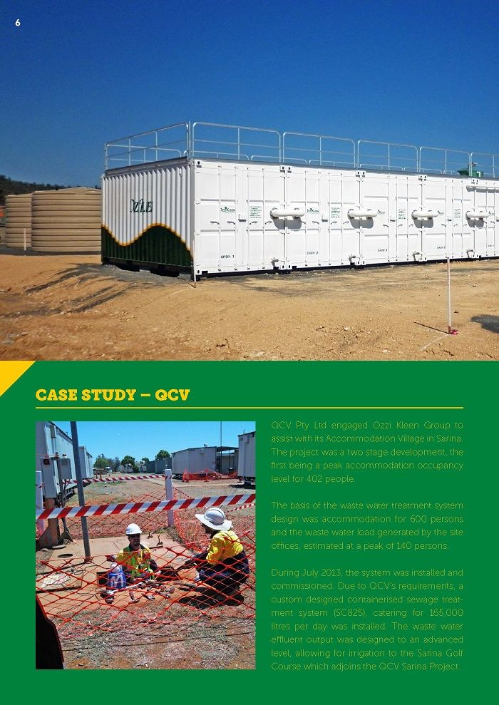 P5 Ozzi Kleen on-site wastewater treatment plant CASE STUDY – QCV