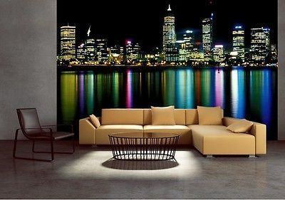 Wall mural wallpaper for living room bedroom office Perth at night photo decor