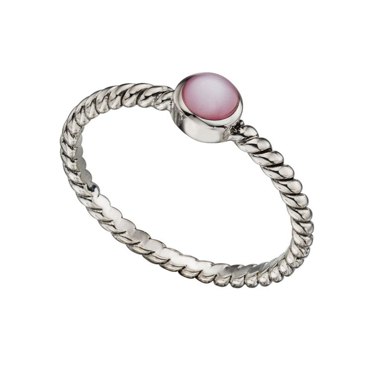 Sterling Silver Pink Mother of Pearl Twisted Ring - With a contemporary and free spirited feel, this stylish ring from the must-have Beginnings collection is designed and created with quality at its core using 925 grade sterling silver: http://ow.ly/XycdQ