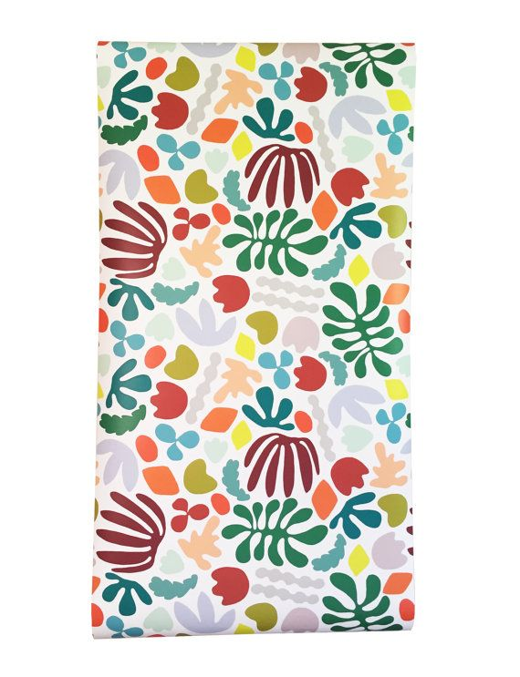 Inspired by the later work of artist Henri Matisse, this brightly colored wallpaper is a cheerful addition to any home, dorm room, or work space. All wallpaper is original and hand illustrated by me (Im Kate!) Each roll of self-adhesive (removable) wallpaper can be used to wallpaper a room or can be applied as shelf liner. This material is also great for covering up an old headboard, the back of a drab cupboard, or pantry shelves. All wallpaper is easy to apply and simple to wash. If…