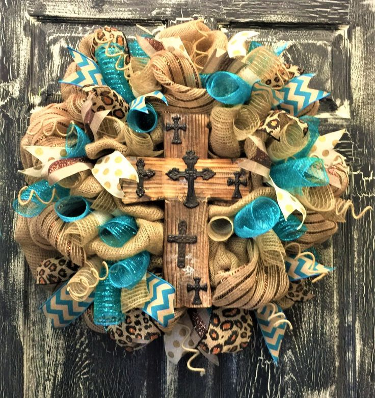 Burlap Rustic Cross Wreath, Chevron Burlap Wreath, Everyday Burlap Wreath, Indoor Wreath, Outdoor Wreath by MNYDesigns on Etsy