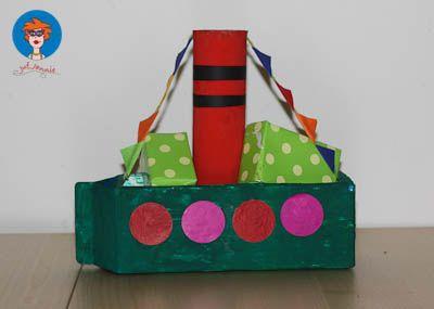 Materialen: Melkpak Keukenrol Verf Kwast Gekleurd papier Schaar Lijm Gekleurd karton Plakband Verf het melkpak groen. Verf de stoompijp rood. Laat drogen. Knip de keukenrol op verschillende plekken…