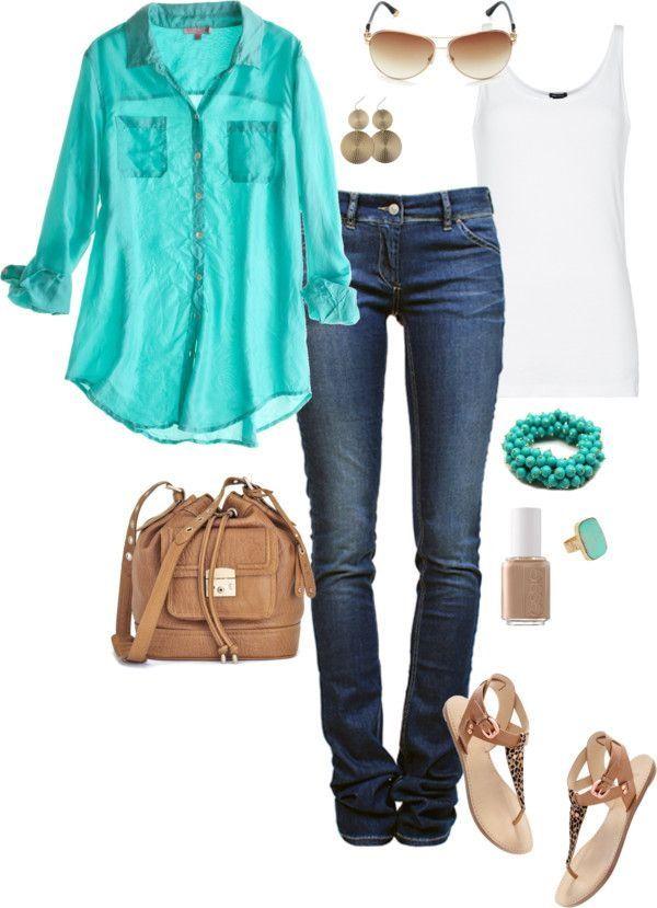Slim jenas, white tank, Aqua shirt, ran sandals