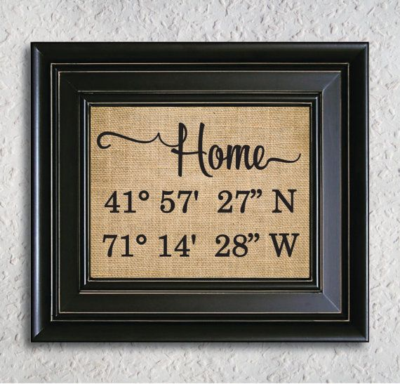 Home Latitude Longitude Burlap Print, Gps coordinates home sign, Our First Home Sign, Personalized Housewarming Gift, Home Burlap Print-6H