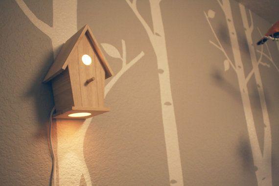 Modern TreeTop Baby Birdhouse Lamp- Avery Natural Design