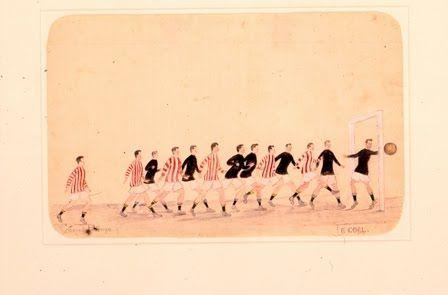 Gerard Bhengu, A Goal, 1926. Pencil and watercolour on paper. 21.3 x 33.2 cm.)