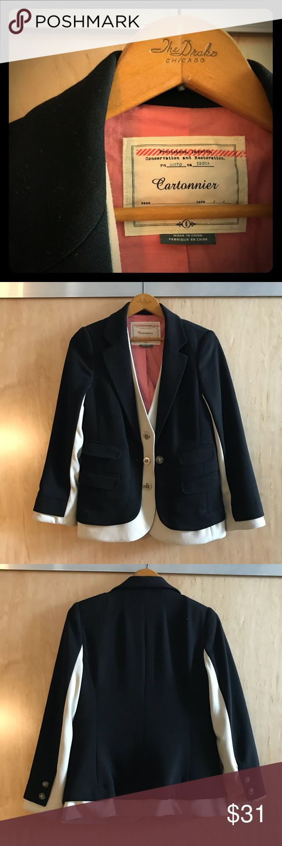 Layered Black and White Blazer - Look of Two Coats without the Bulk - Blue Striped Interior Piping - Silky Lined Sleeves for Comfort - Pink Cotton Lined for Temperature Anthropologie Jackets & Coats Blazers