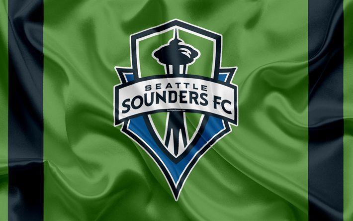 Download wallpapers Seattle Sounders FC, American Football Club, MLS, Major League Soccer, emblem, logo, silk flag, Seattle, Washington, USA, football