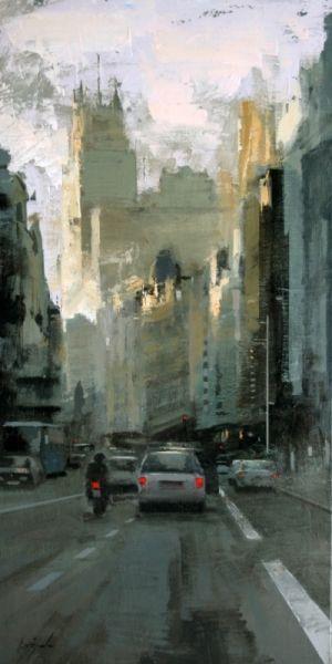 En el tráfico - Óleo sobre lienzo ( 81 x 41 cm.)