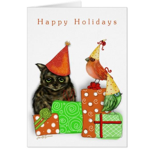 Happy Holidays Cat, Birds and Presents Card $3.75    #christmas2017 #cats #brds