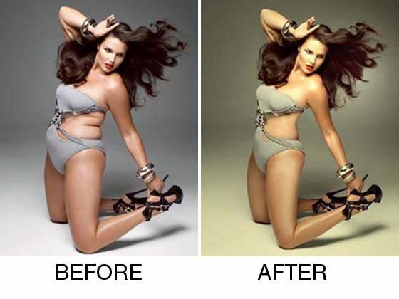 """Celebrity Photoshopped Before and After-6  I picked this picture because it is a perfect example of Photoshop and how it is used in the media. The media wants to make us believe that the only """"perfect"""" body is skinny and if you are not skinny your body is not acceptable."""