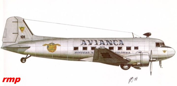 DC 2 de Avianca (notase que las señales y símbolos eran idénticos en un principio con los de SCADTA)