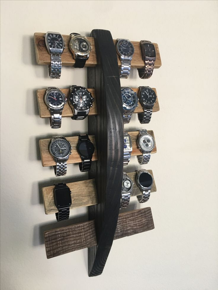 Airfoil center with pallet wood wing holders holds up to 20 watches.
