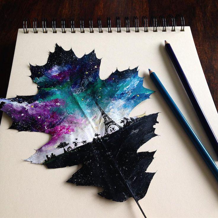 De jolies peintures faites sur des feuilles d'arbres par Joanna Wirazka