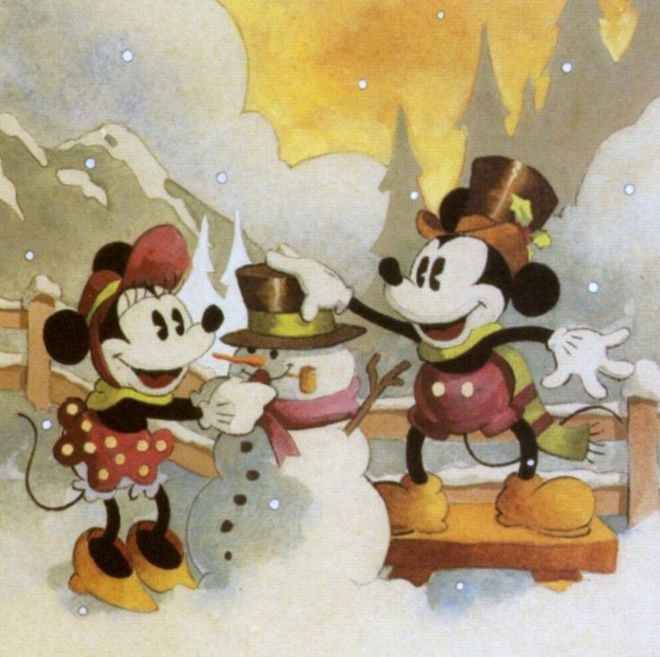 Mickey & Minnie building a snowman