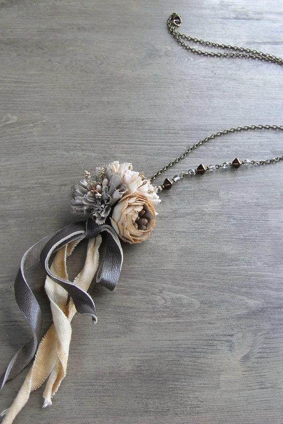 petit bouquet necklace neutral hand dyed fabric di kikosattic