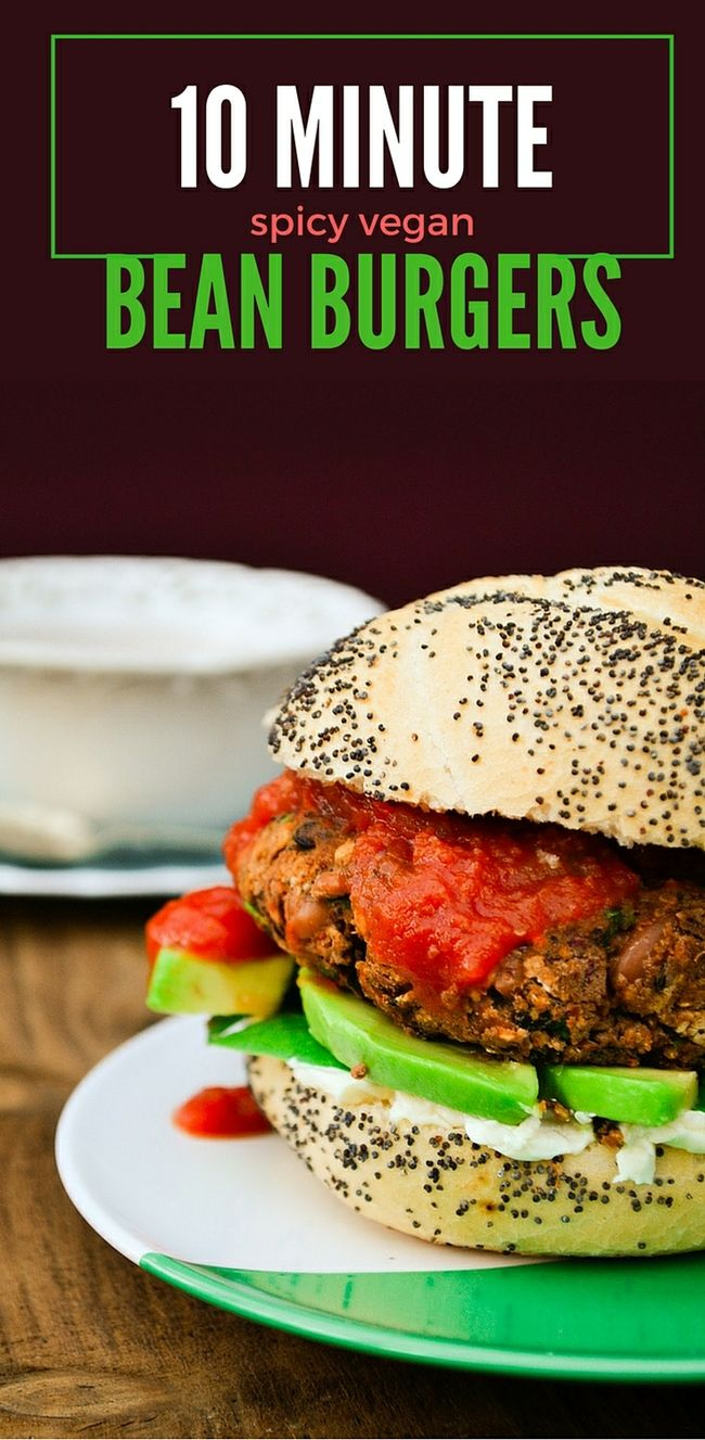 10 minute spicy vegan bean burger. This tasty burger can be cooked fresh or froz…