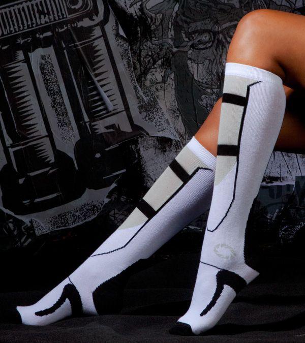 These Portal 2 fall socks:   Community Post: 28 Wardrobe Essentials For Female Gamers