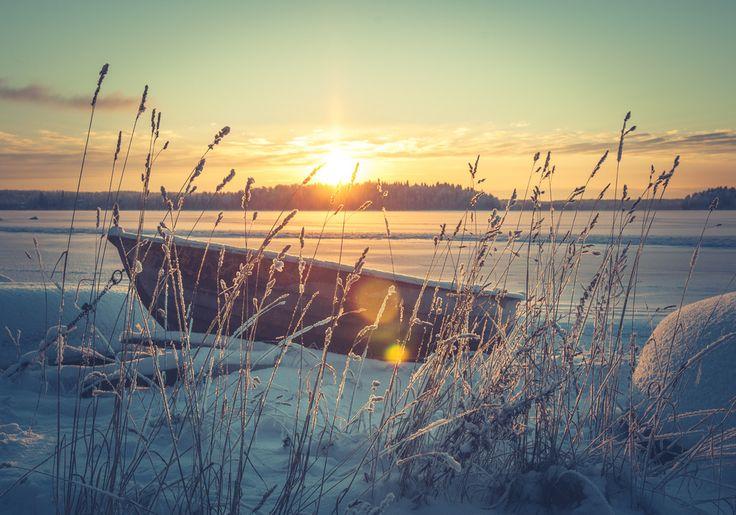 Frozen lake. Tampere, Finland.