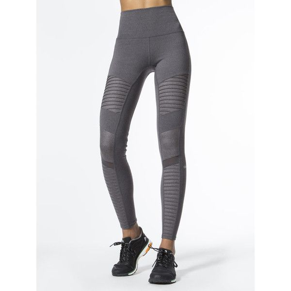 High-Waist Moto Legging (835 GTQ) ❤ liked on Polyvore featuring pants, leggings, high-waisted leggings, high-waisted trousers, white shiny leggings, white pants and high waisted shiny leggings