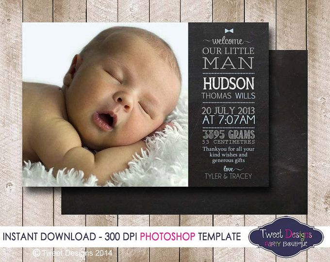 BIRTH ANNOUNCEMENT TEMPLATE, Photoshop Template, Photographer Template, Boy Birth Announcement, Chalkboard Baby Thank you, Commercial use