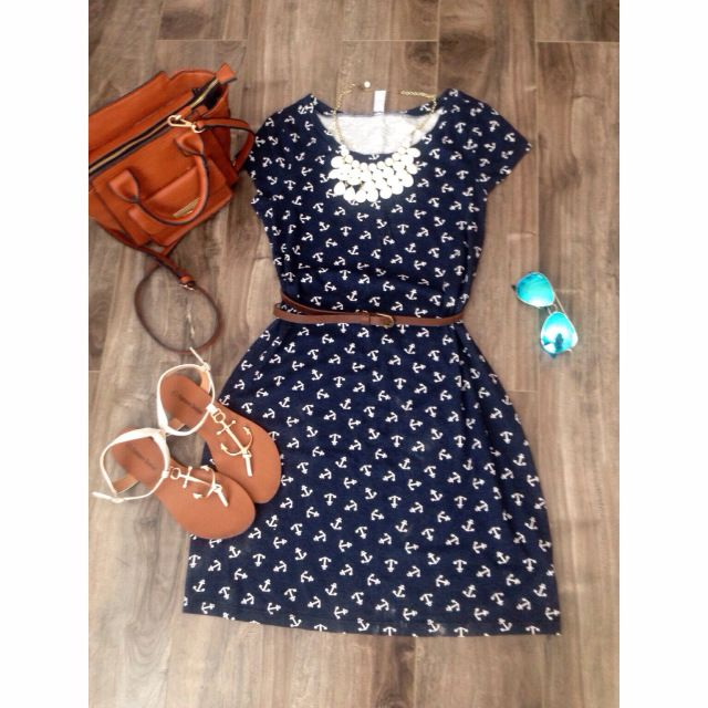Nautical Anchor Modest Outfit! Old Navy Dress &Anchor Sandals!