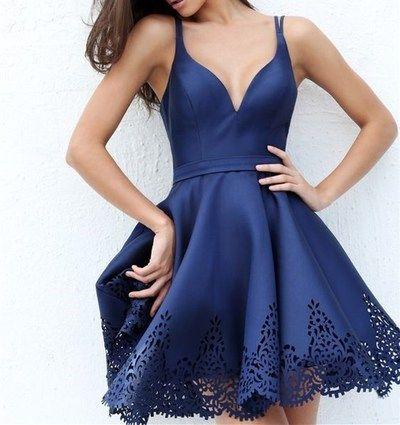 2016 Custom Charming Royal Blue Homecoming Dress,Sexy Spaghetti Straps V-Neck Evening Dress,Sexy Backless…
