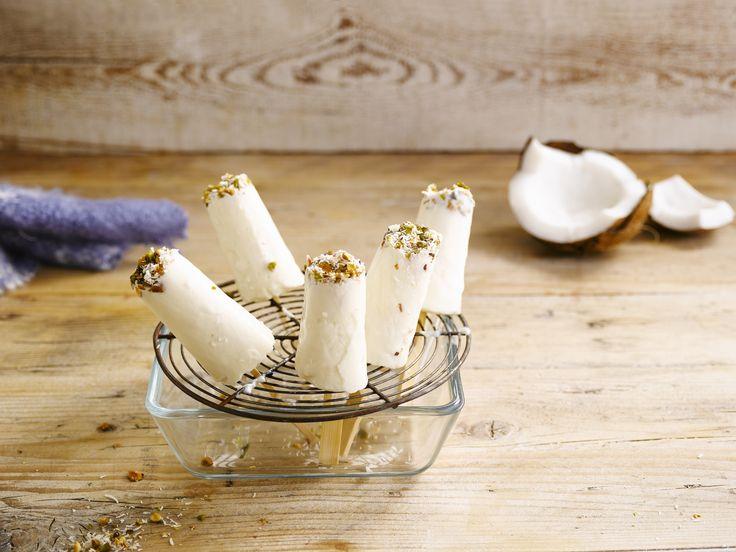 Alpro - Mini-ijsjes met kokosnoot - Verfrissende ijslolly's met Alpro soya alternatief voor yoghurt Natuur met kokosnoot