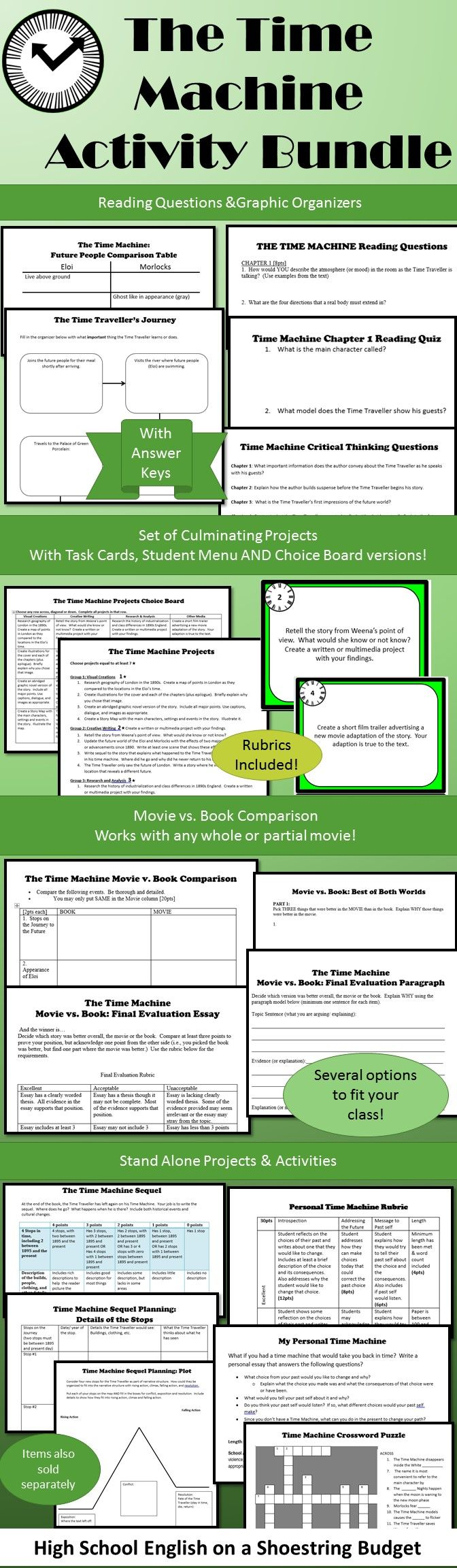 Flexible set of activities for use with the Time Machine.  Lots of options including reading and quiz questions, Movie vs. Book, and several culminating projects. $