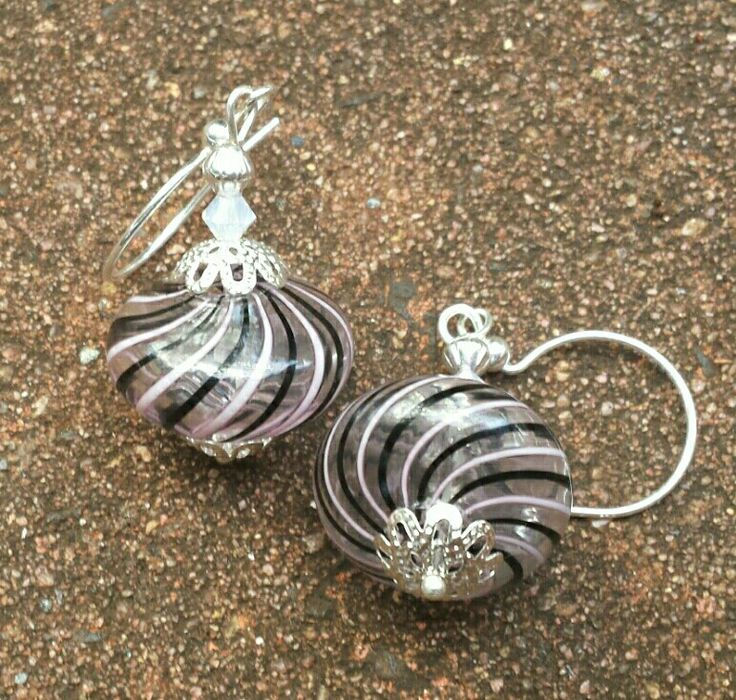 Mouth blown Murano glass bead earrings I created. ☺