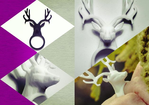 Anello Testa di Cervo in Nylon stampato 3d