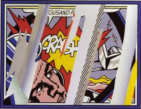 Reflections on Crash, from: Reflections (C. 239) 1990Lithograph, screenprint and relief printed in colours with collage and embossing on Somerset wove paper53.07 x 75.19 inches.  (1348 x 1753 mm).,  S.  59.05 x 75.19 inches ( 1500 x 1910 mm. )Edition of 68 (there were also 16 artist's proofs)Signed and dated '90 in pencil.Printed and published by Tyler Graphics, New York, with their blindstamp