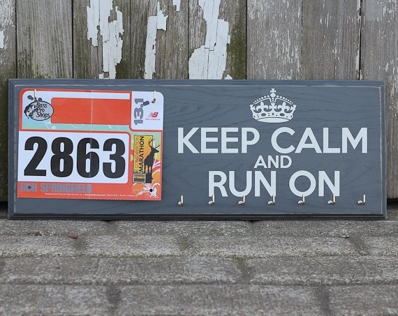 Medals Holder Display and Race Bib Rack Running Gift Combo - Keep Calm and Run On