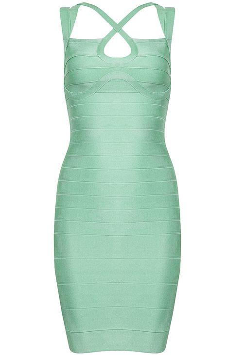 Light Green Criss Cross Bodycon Bandage Dress