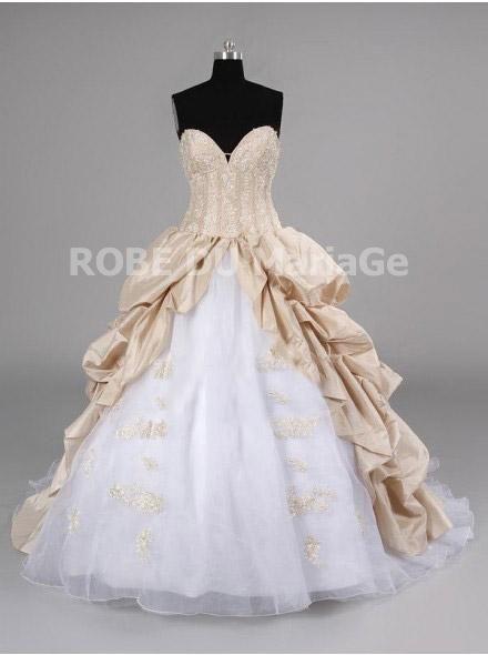 Robe de mariée princesse en couleur bustier appliques jupe ample taffetas [#ROBE204807] - robedumariage.com