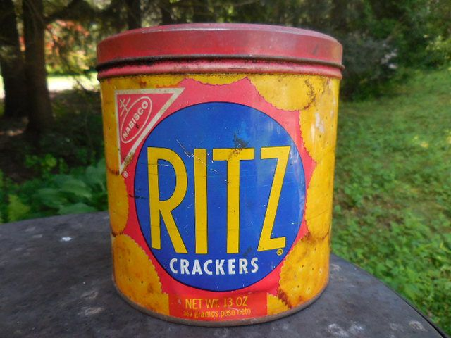 Vintage 1970s Ritz Crackers Round Tin Red/Blue/Gold Kitchen Decor Nabisco 1977 East Hanover, N.J. Made in USA Retro Storage Not Perfect