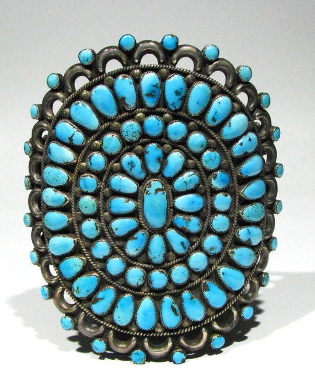 """The top of the bracelet measures: 4 1/2"""" across the top. Wrist sizes it will fit are 7 1/4"""" to 7 3/4"""" wrist, it is adjustable. This Bracelet was given to Mr. Hardy from Victor Moses Begay and this info came directly from Mr. Hardy, this is also one of Victor Moses Begay's earliest pieces, it does need polishing of the silver as it has nice dark patina, exact age unknown.   eBay!"""