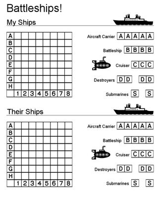 Printable Battleship game (and other printables). Would also be great for long car rides!