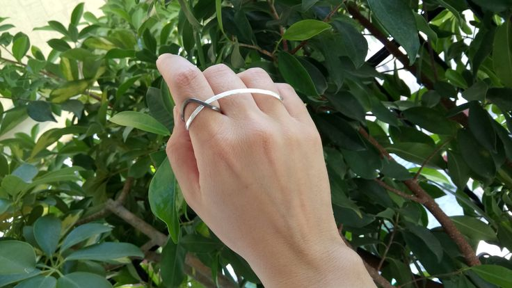 silver three finger ring, modern jewelry, double finger ring, long linear ring, big statement ring, contemporary handmade ring, minimal ring by VickyKyritsi on Etsy