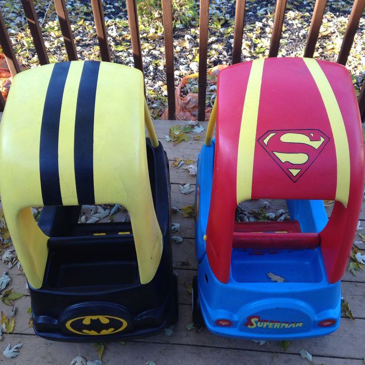 #batman #superman awesomeness! My Cozy coupe makeover #LittleGoobersParty