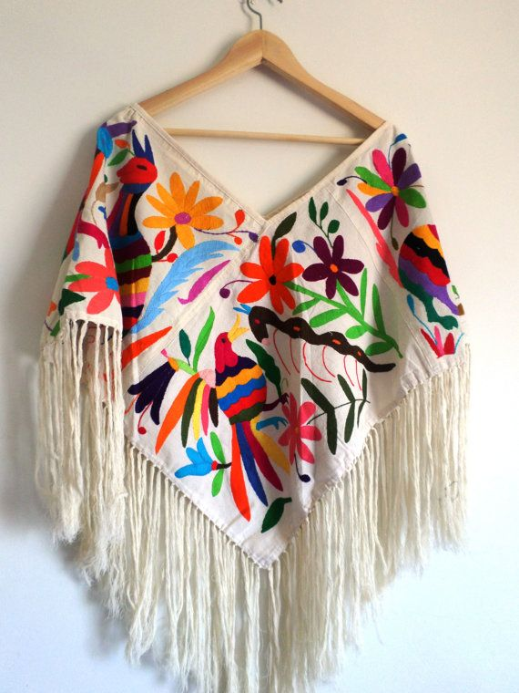 Handembroidered #Poncho (#Huipil) Available in white, multicolor, #Otomi designs. on Etsy, $159.00