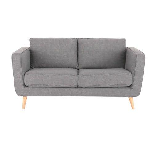 NON-570€-MdM-L170-Canapé 2/3 places en tissu gris clair