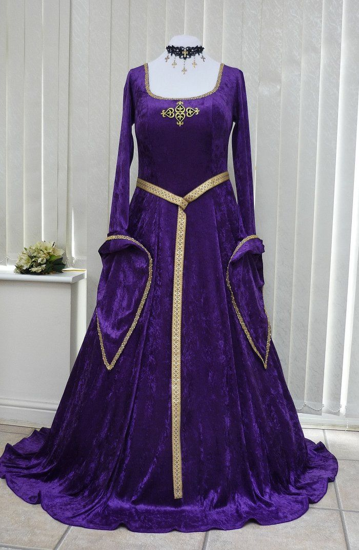 Purple and Gold Lotr Medieval Velvet Dress, Dawns Medieval Dresses