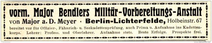 Original-Werbung/ Anzeige 1915 - V. MAJOR BENDLERS MILITÄR- VORBEREITUNGS - ANSTALT BERLIN - LICHTERFELDE - ca. 115 x 20