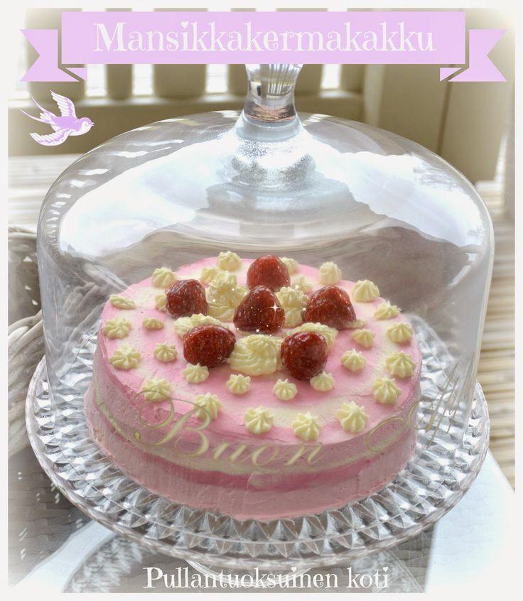 Pullantuoksuinen koti: Mansikkakermakakku liukuvärjäyksellä. Strawberry creamcake