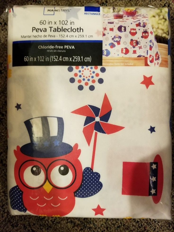 """Mainstays Owls Vinyl Tablecloth, 60"""" x 102"""" inch, Party Time Owl Table Cloth #Mainstays"""